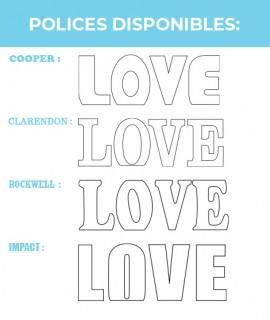 Lot de 4 Lettres LOVE de taille XXL - 76 cm à poser-Chiffres & Lettres